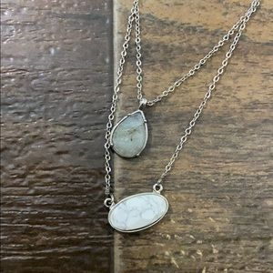 Grey and marble layered necklace